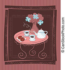 Romantic Table Background - Table for two with flowers and...