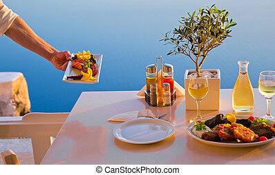 Romantic table for two on the island Santorini