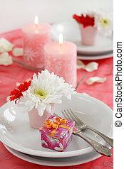 Romantic table setting for Valentine, birthday or other ...