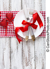 Romantic table setting for Valentines day in a rustic style. Top view