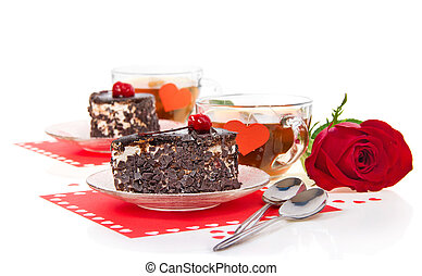 Romantic tea with chocolate cakes and red rose - Romantic...