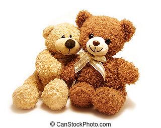 romantic teddy-bears - two teddy-bears sitting with their...