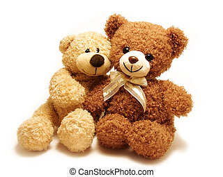 romantic teddy-bears - two teddy-bears sitting with their...