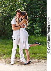 Romantic teenage couple