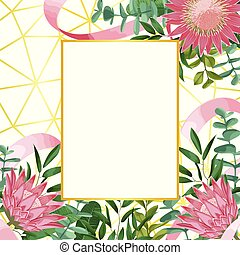 Romantic Template with Protea and Greenery on Geometric Background