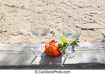 romantic time with wine and rose flower