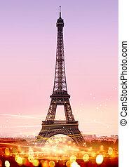 Eiffel Tower - romantic twilight in Paris, with the Eiffel ...