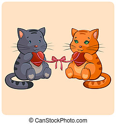 Romantic Two cats in Love - Funny illustration in vector