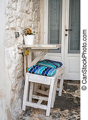 Romantic urban table and chairs for two