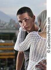 romantic urban young couple outdoor