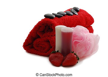 Romantic Valentine Day SPA set including heart shaped towel...