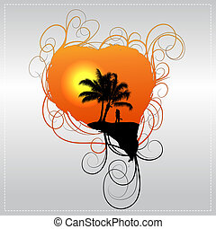 Romantic vector background with a couple and a  palm tree