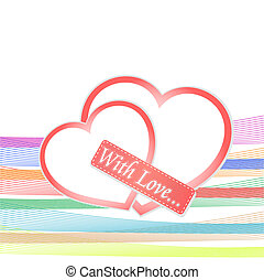 romantic vector background with two red hearts