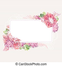 Romantic Vector Card Template with Floral Border