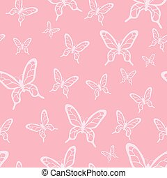 Romantic vector seamless pattern with butterflies