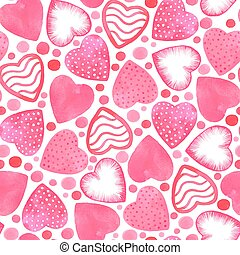 Romantic vector seamless pattern with watercolor hearts