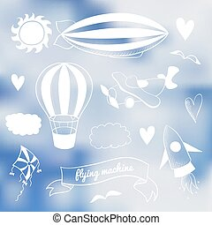 Romantic vector set with flying transport