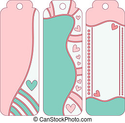 Romantic vector tag or label collection with hearts