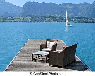 Romantic view to the lake Thun, Switzerland