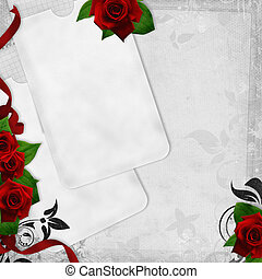 Romantic  vintage background with red roses and text love (1 of set)