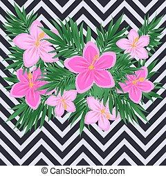 Romantic vintage hibiscus flowers card, vector illustration