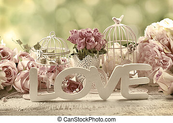 romantic vintage love background with flowers