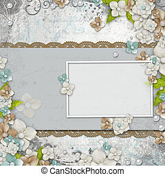 Romantic  vintage  white background with frame, flowers and text (1 of set)