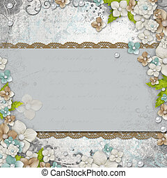 Romantic  vintage  white background with flowers and text (1 of set)