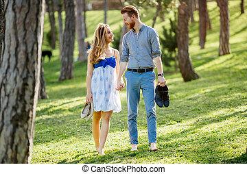 Romantic walk in nature