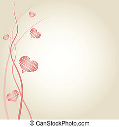 Romantic wedding announcement decorated with hearts