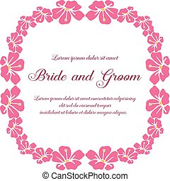 Romantic wedding card for bride and groom on white background, wallpaper of pink flower frame. Vector
