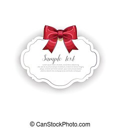 Romantic wedding card template with ribbon