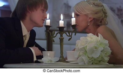 wedding couple by candlelight