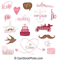 Romantic Wedding Design Elements -for invitation, scrapbook...