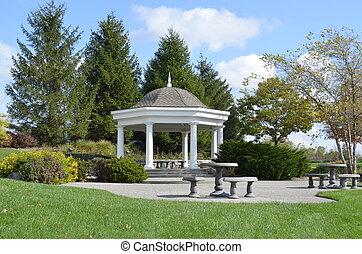 Romantic wedding gazebo in the park