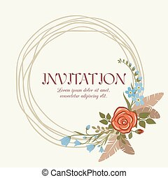 Romantic wedding invitation with floral wreath