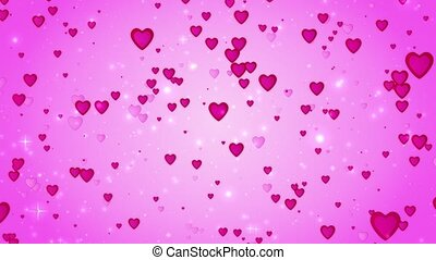 Romantic wedding pink background. The movement of red hearts. Love symbol. Valentine. 3D animation