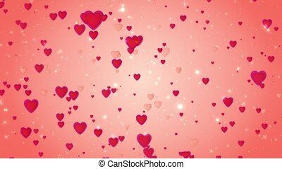 Romantic wedding red background. The movement of red hearts. Love symbol. Valentine. 3D animation