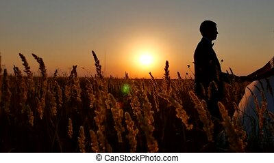 Romantic wedding young couple silhouette. loving couple at sunset nature man and girl silhouette