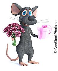 romantic., wezen, vertolking, muis, spotprent, 3d