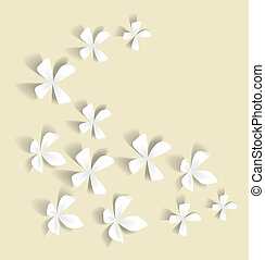 Romantic white flowers on a light background