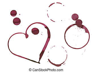 Romantic wine stain - heart shape and circles made with...
