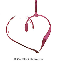 Romantic wine stain - heart shape made with stain from wine ...