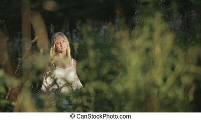 romantic woman in forest