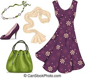 Romantic woman wardrobe. - Dress, scarf, necklace, handbag...
