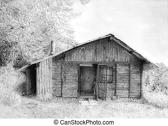 Romantic wooden cabin in mountain landscape, beautiful ...