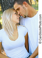 Romantic Young Caucasian Couple Sharing Love