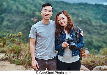 Romantic young couple at nature.