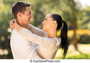 romantic young couple embracing