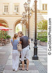 Romantic Young Couple Kissing Stroller